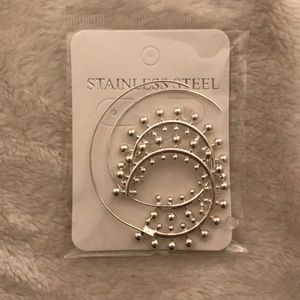 NWT Stainless Steel Spiral Earrings